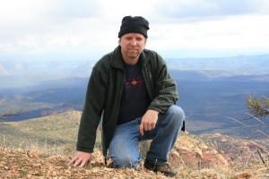 Author Robert Louis DeMayo on House Mountain in Sedona, Arizona.